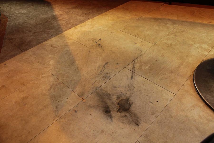 Verunreinigung Velour Lederboden Detail