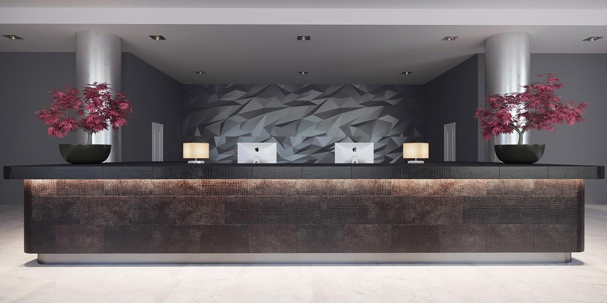 Hotelrezeption mit CAYMAN Leder Design
