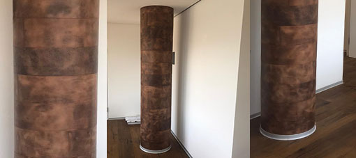 Säulenverkleidung mit Leder